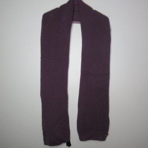 Coach purple wool blend scarf with leather logo